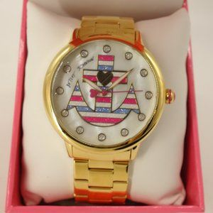 NWT Betsey Johnson Striped Anchor Watch Gold Tone